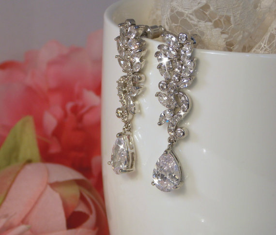 Mariage - Dangle Bridal Earrings, Sparkly Silver Clear CZ earrings , bridal earring , bridal Jewelry