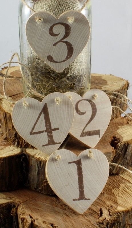 Wedding - Rustic Wooden Heart Table Numbers With FREE SHIPPING