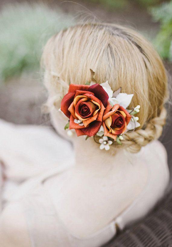 Automne Accessoires cheveux, Burnt fleur d\u0027oranger, Rust postiche nuptiale,  mariage Barrette , COEURS AFIRE , Mariage d\u0027automne,