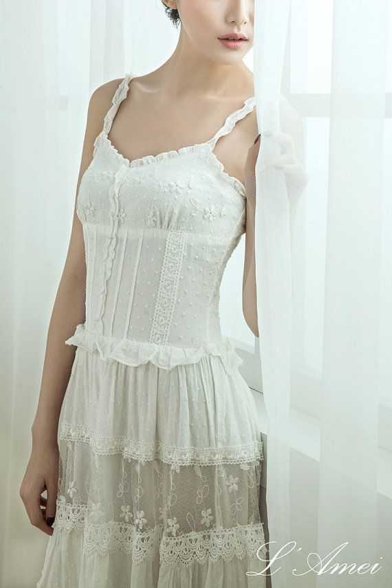 Wedding - Simple Boho Organic Cotton Lace Wedding Dress
