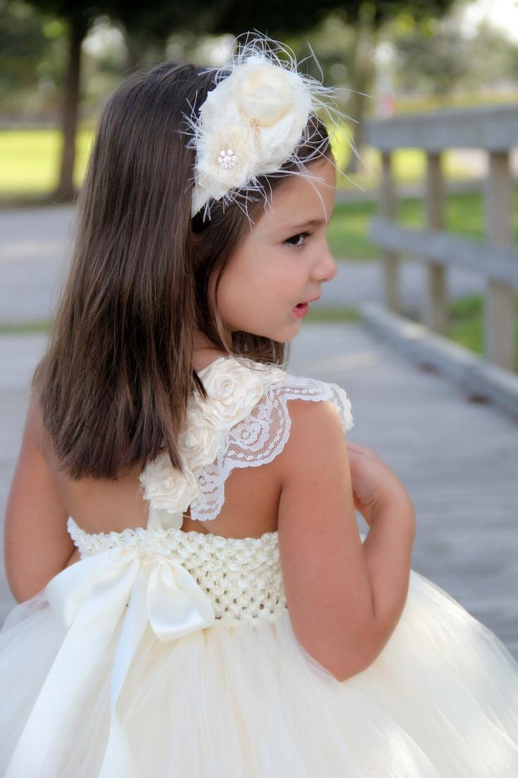 Wedding - Elegant Ivory Flower Girl Tutu Dress, Flower Girl Dress, Tutu Dresses, Ivory Wedding