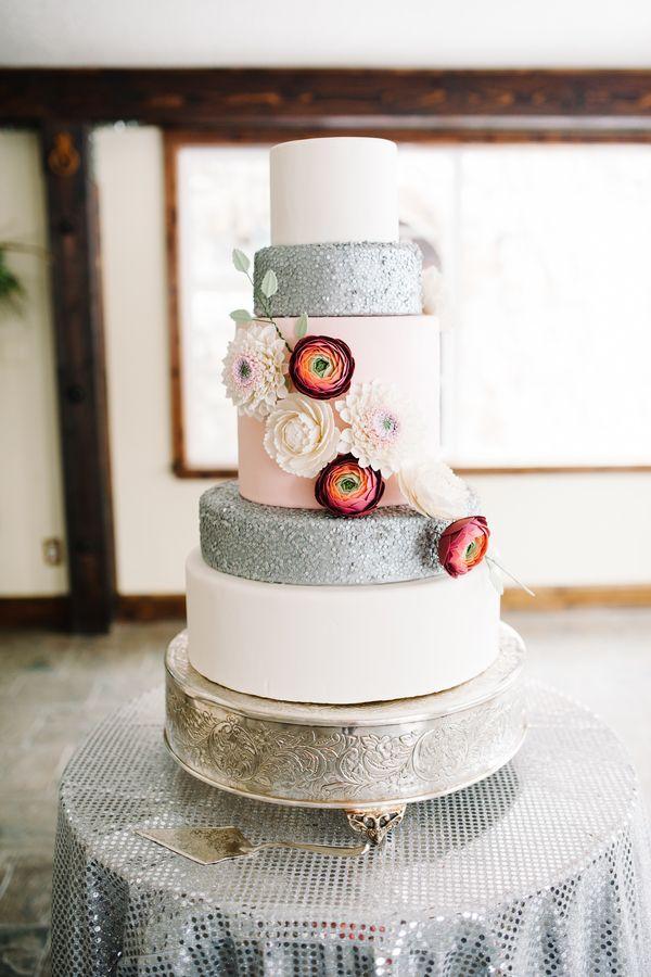 Cake Whimsical Silver And Pink Wedding Cake 2148387 Weddbook