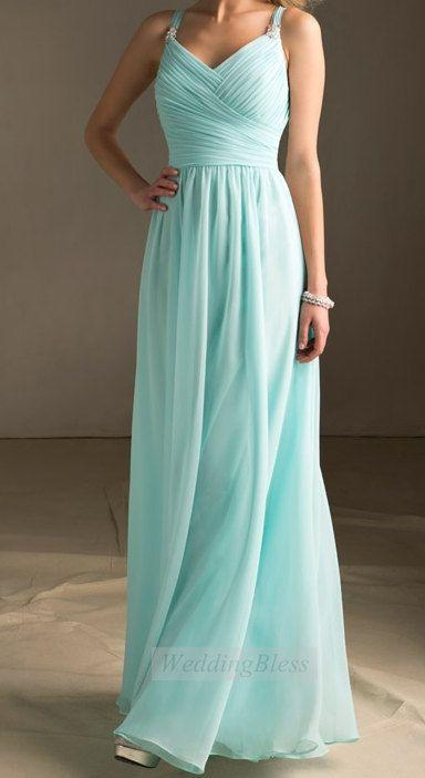 Tiffany-Blau Brautjungfernkleid Langes Kleid Mit Straps Chiffon A ...
