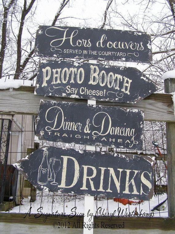 vintage wedding sign package 4 signs 5 foot stake. Black Bedroom Furniture Sets. Home Design Ideas