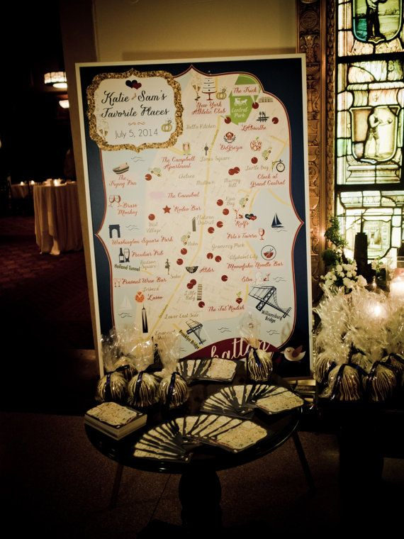 "Wedding - Guest Book Alternative - Map On 36""x54"" Canvas For Place Card Table"