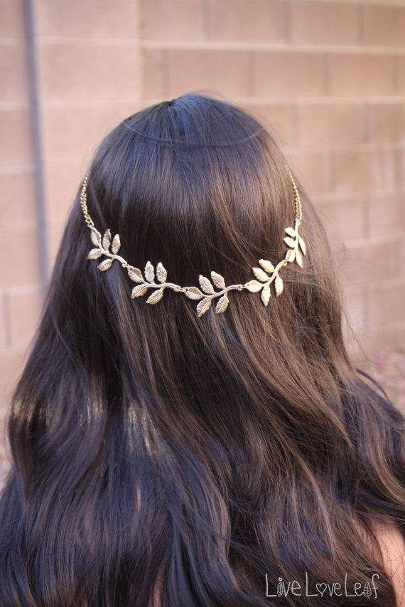 Gold Leaf Headband, Greek Metal Leaf Hair