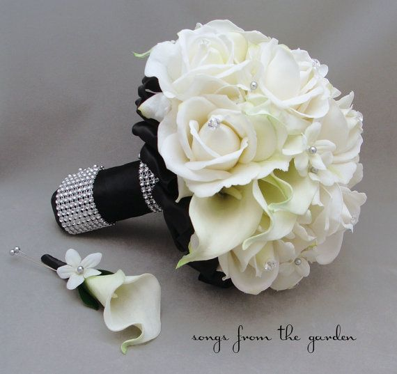 Черный белый свадебный букет невесты Стефанотис Real Touch розы, Каллы Бутоньерка для жениха реального сенсорного заказ свадебно