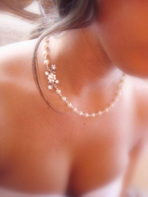 Hochzeit - Brautschmuck, Hochzeits Halskette, Hochzeits-Halskette, Vintage Style Halskette, Antik Silber, Swarovski-Kristallen und Perlen