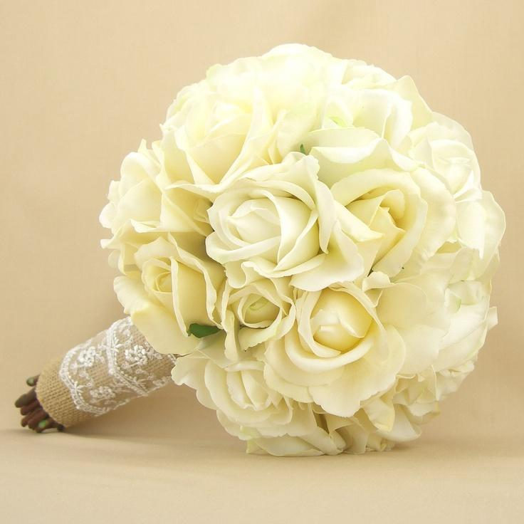 Rustic Bridal Bouquet Burlap Lace Roses Real Touch Silk Wedding Flowers White Cream Ivory