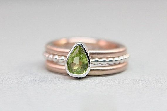 Wedding - Rose Gold & Silver Peridot Wedding Set - Eco Friendly - Great Stacking Set With August Birthstone - Diamond Alternative
