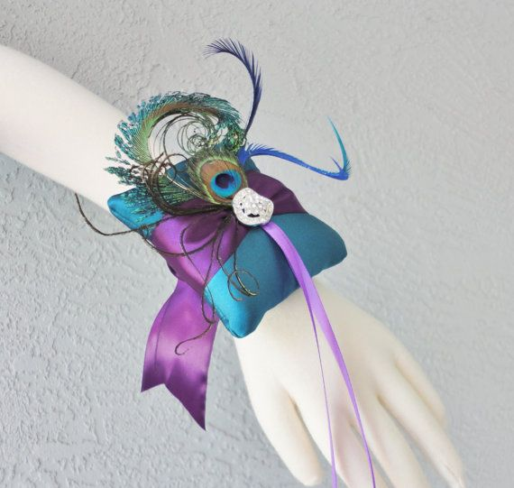 Wedding - Wedding Teal And Purple Ring Bearer Pillow Wrist Size 3.5x3.5 More Colors Available