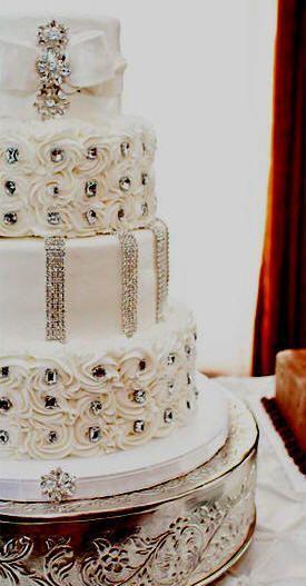 زفاف - الأبيض والذهب كعك الزفاف