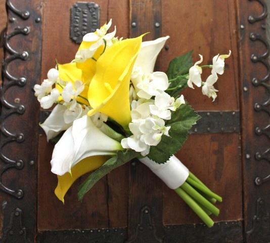 Hochzeit - Gelb Blumenstrauß mit Real Touch Calla-Lilien, Frühling Hochzeit, Hochzeit im Sommer, einfache Art, gelb und weiß, Orchideen, So