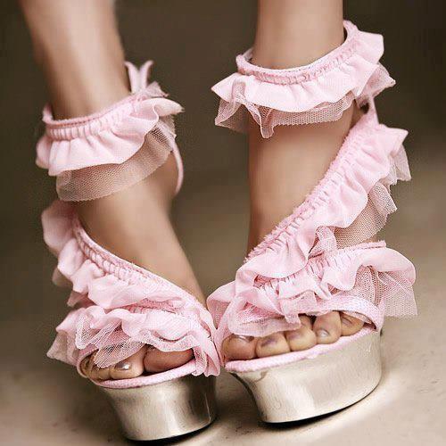 Mariage - net cloth wedding heels