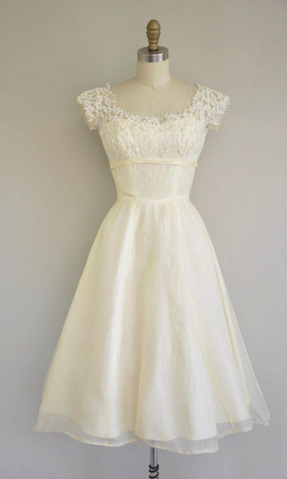 Jahrgang 1950 Kleid / 50er Jahre Tee-Längen-Spitze-Chiffon-Kleid ...