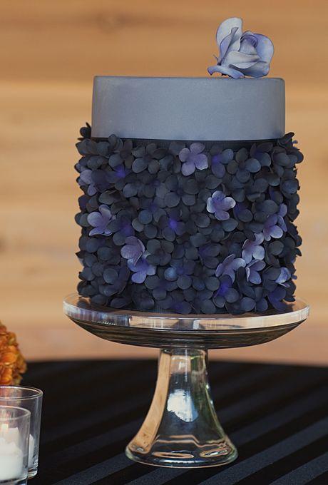 زفاف - A Dark Gray, Two-Tier Wedding Cake - With Flowers By AK Cake Design
