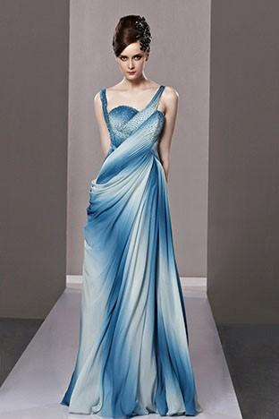 Düğün - Blue Full-Length Sweetheart Neck Evening Party Dresses