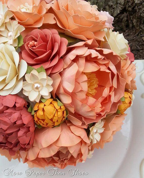 Paper bouquet paper flower bouquet wedding bouquet peach and paper bouquet paper flower bouquet wedding bouquet peach and coral custom made any color mightylinksfo
