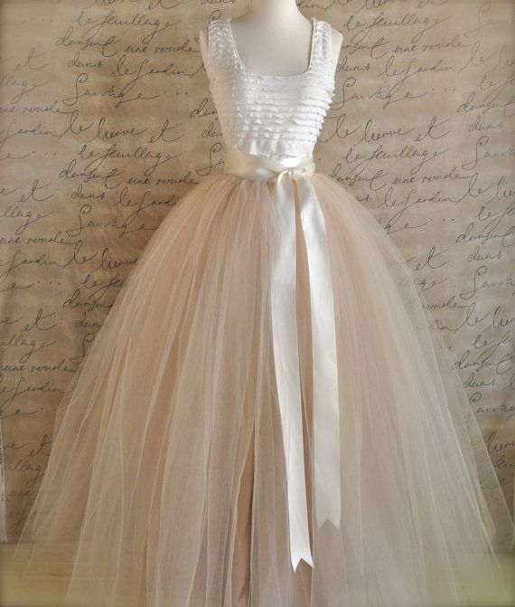 f918b5687 Full Length Champagne Tulle Skirt. Champagne Tulle Lined In Champagne For  Women. Weddings And Formal Wear