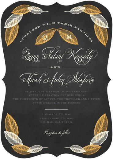 Mariage - Exquisite Leaves - Signature White Wedding Invitations In Flint Or Umber