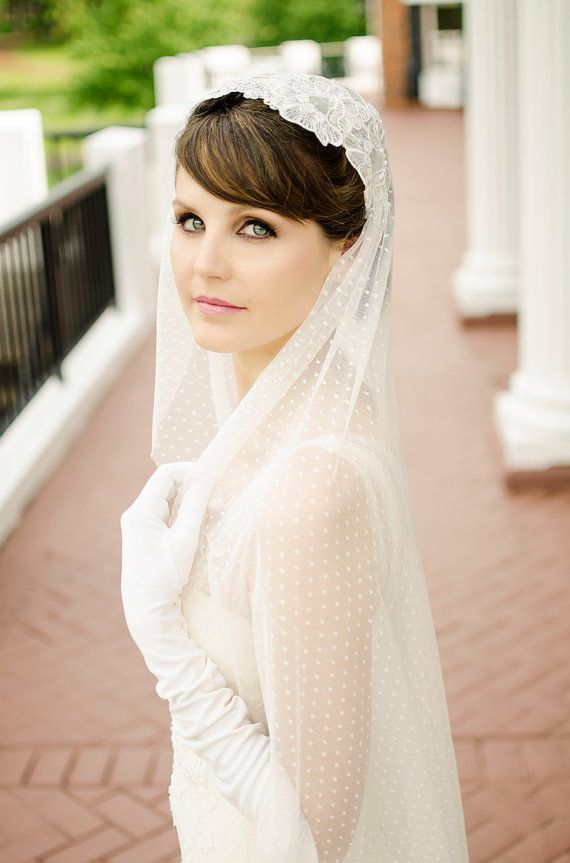 Mariage - Dotted English Net Cap Veil, Polka Dot Veil, Great Gatsby Lace Cap Veil, Ivory Lace Veil, Vintage Inspired Tulle Veil, Juliet Cap Veil - 214