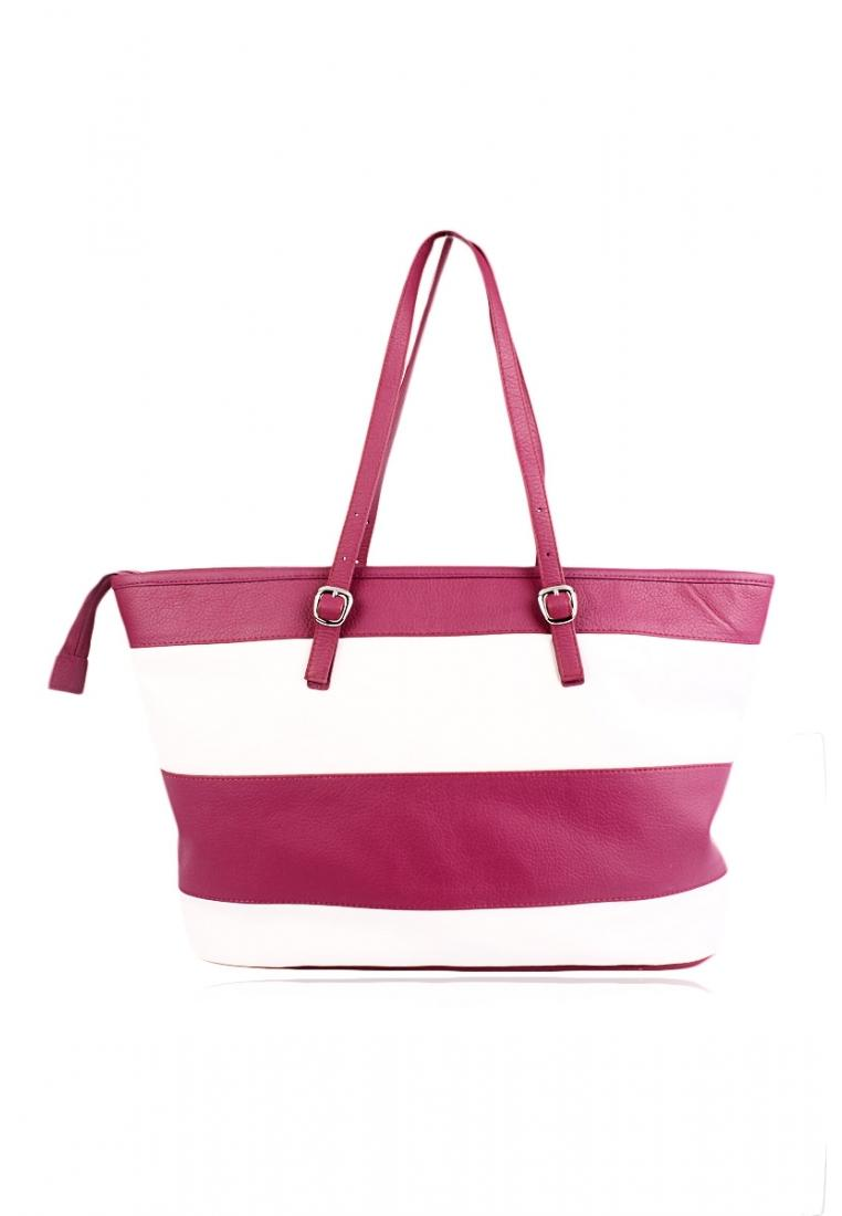 SILKSKIN Pink And White Horizontal Striped Womens Leather Tote ...