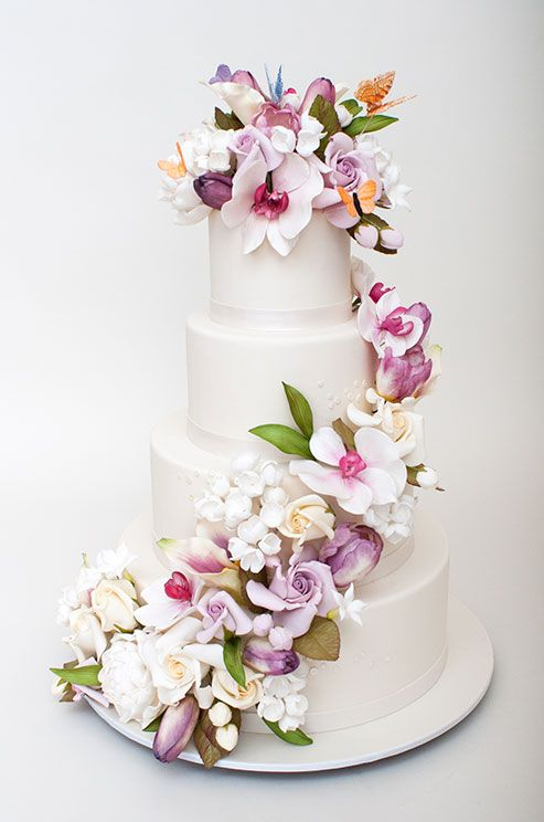 Stunning Sugar Flowers And Colorful Butterflies Are Fabulous - Flowers Wedding Cake