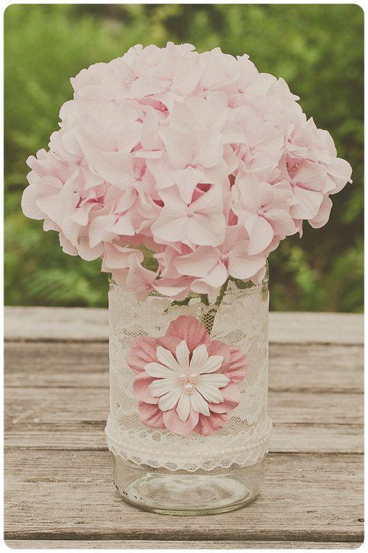 Mariage - Vintage Lace Wedding Jar. Ivory With Pink. Vintage Wedding Centerpiece, Barn Wedding, Rustic Wedding Decor
