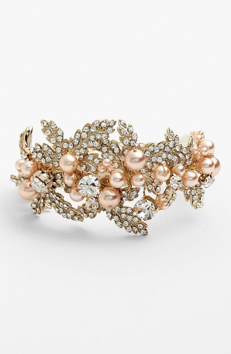 Wedding - Nina 'Hallie' Faux Pearl & Crystal Bracelet
