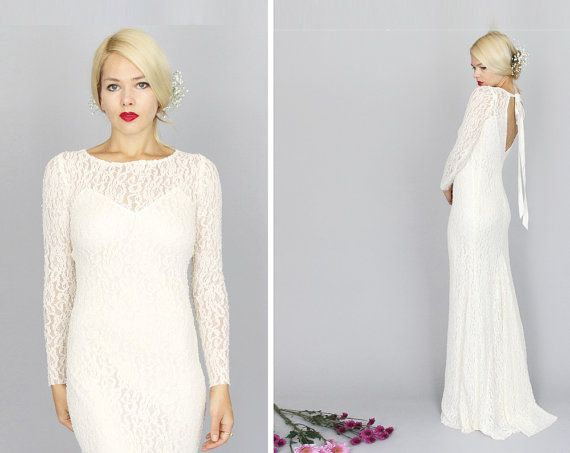 CELESTIN Ivory Lace Long Sleeved Wedding Gown Sheath Back Dip Bow Bohemian Hippie Romantic