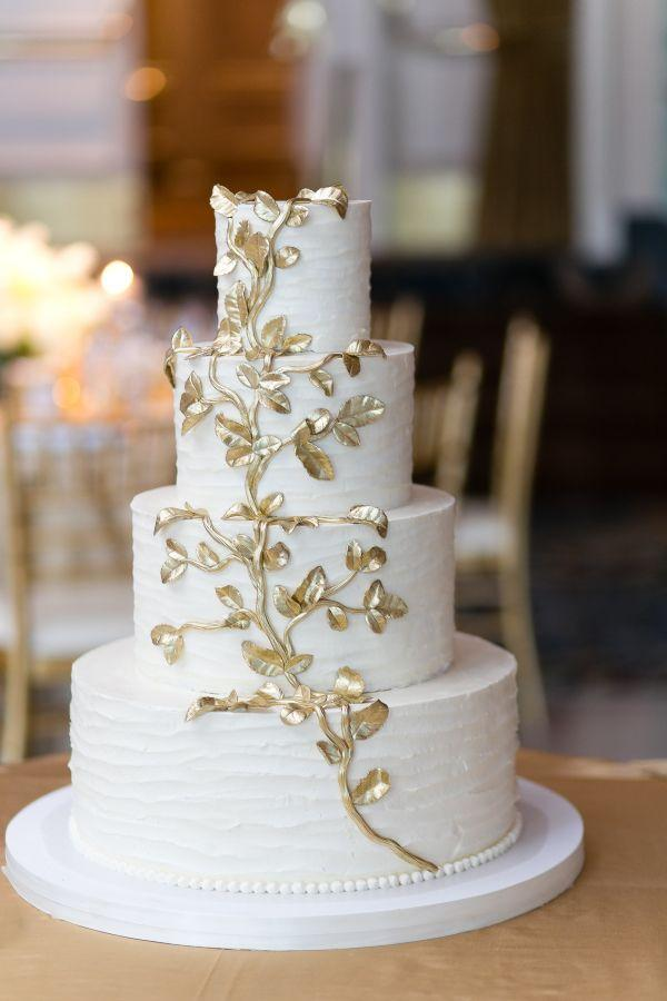 Gold Wedding Wedding Cake With Gold Leaf 2152502 Weddbook