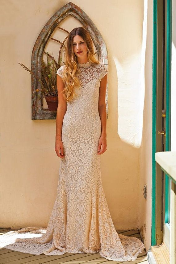 simple elegant lace wedding dress w cap sleeve sweetheart low back underlay stretch fitted lace wedding gown ivory or white