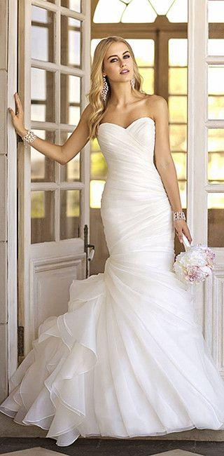 Sweetheart Neckline Ruched Bodices Mermaid Wedding Dress Asymmetrical Organza Pleated Trump Vintage