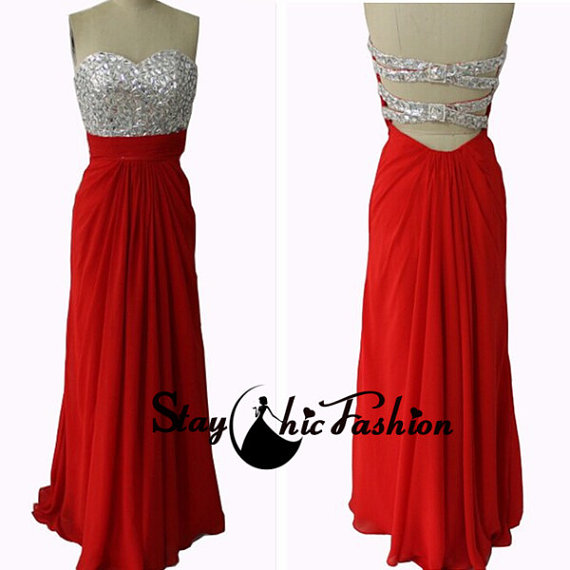 Red Strapless Rhinestone Beaded Bust Cutout Striped Back Long Prom