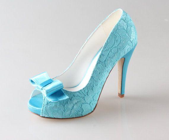 Handmade Acid Blue Lace Wedding Shoes,Blue Wedding Shoes,Lace Bow ...