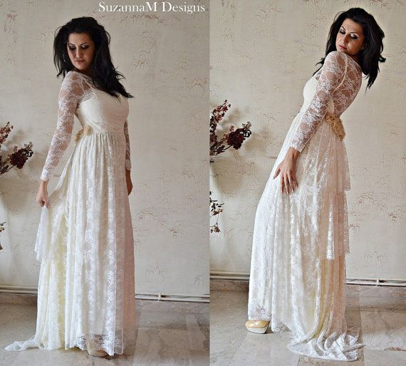 Ivory lace bohemian wedding dress long bridal wedding gown for Ivory lace wedding dresses