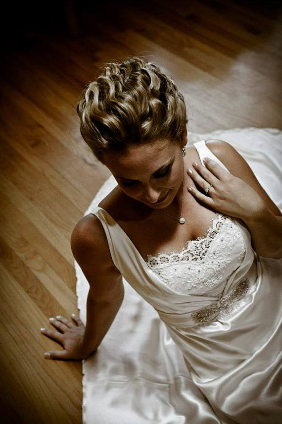 Boda - Silk Satin Back Crepe Wedding Gown With Alencon Lace And Swarovski Crystals