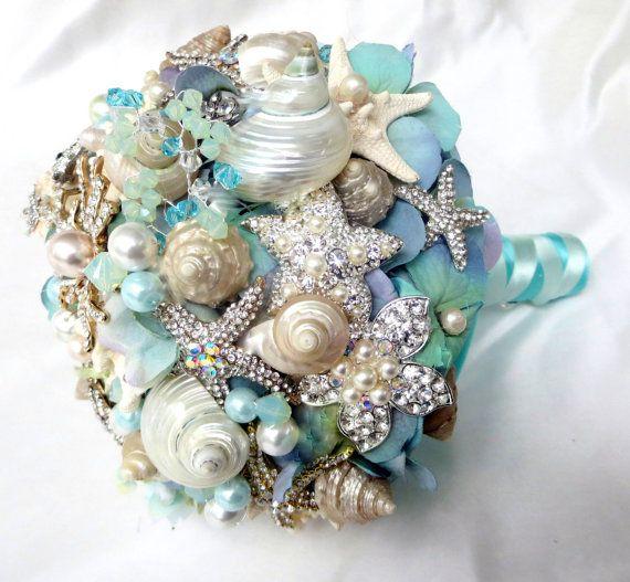 Sea Shell Wedding Bouquet Tiffany Blue Bridal Beach Brooch