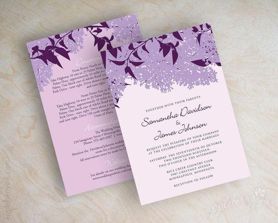 Lilac Wedding Invitations Stationery Purple Invites Eggplant Lavender Orchid Inez