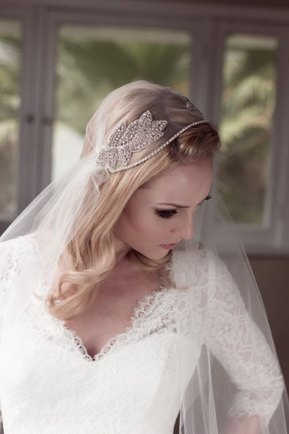 Mariage - Rhinestone Embellished Juliet Bridal Cap Wedding Veil, Soft Illusion Tulle With Beaded Crystal Leaf Adornments, Style: Abiding Love #1431