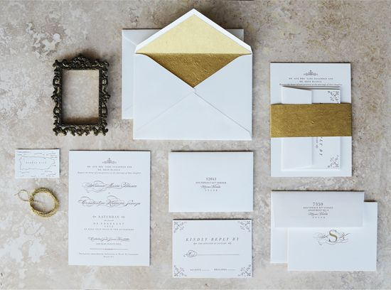 زفاف - Elegant Gold Edge Painted Wedding Invitations