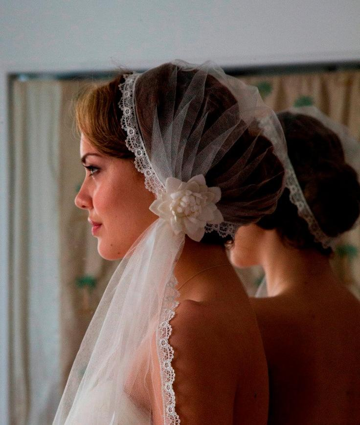 Hochzeit - Juliet Cap With Wedding Veil In English Silk Tulle, Lovely Lace Edge And Vintage Bridal Hair Flower