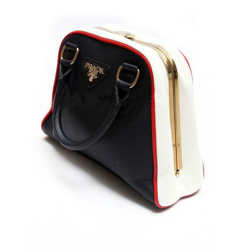 Mariage - PRADA Milano Black Womens Tote Twin Handles Handbags