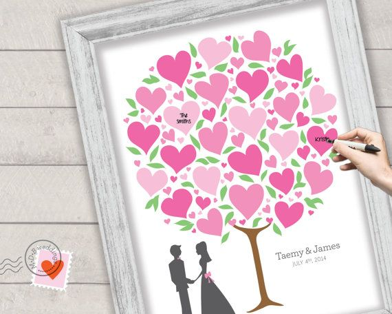 Wedding Guest Book Alternative Heart Tree Árbol Firmas