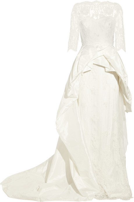 Mariage - Marchesa Embellished lace and silk-taffeta gown