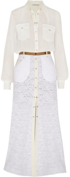Mariage - Alessandra Rich Georgette blouse and lace maxi skirt set