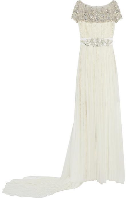 زفاف - Marchesa Embellished tulle and lace gown