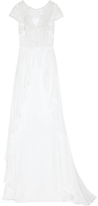 Mariage - Temperley London Bluebell silk and embroidered lace gown