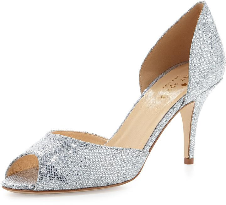 Mariage - Kate Spade New York Sage Glitter Peep-Toe D'orsay Pump, Silver