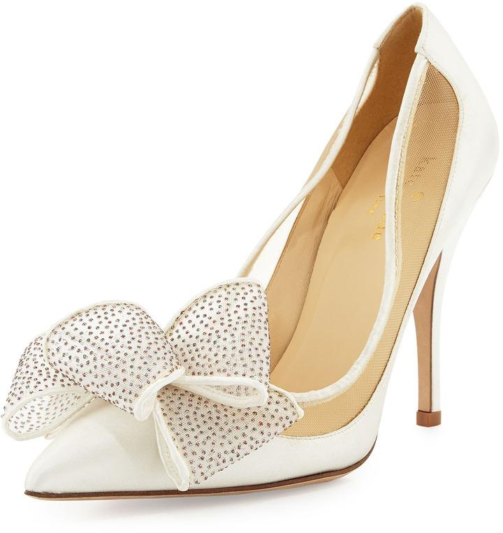 Mariage - Kate Spade New York Lovely Satin Bow Pump, Ivory